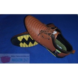 Pantofi Stil Fashion Casual din piele de culoare maro cu model Ferrari