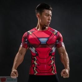 Tricouri Cool Fitness Elastic Polyester 3D Printed Models Super Hero Captain America IronMan Superman