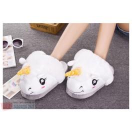 Papuci de Casa din Plus cu model Unicorn Alb White Unicorn Slippers