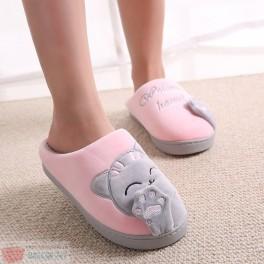 Papuci de Casa cu model Pisica Cat Winter Slippers Welcome Home