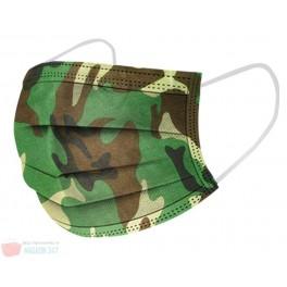 Masca de protectie faciala model Camuflaj Verde cu 3 straturi de filtrare Cadou Fashion Camo Mask