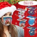 Masca de protectie cu model Sarbatori Iarna Craciun cu 3 straturi de filtrare Cadou Fashion Christmas Winter Mask