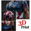 Tricouri Cool Fitness Elastic Polyester 3D Printed Models Super Hero Captain America IronMan Superman